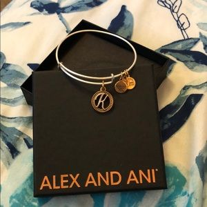 Alex and Ani Gold Bangle K Bracelet